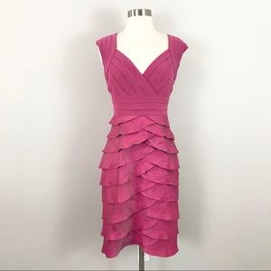 Adrianna Papell 10 Dress Pink Layered Tiered Cocktail Party